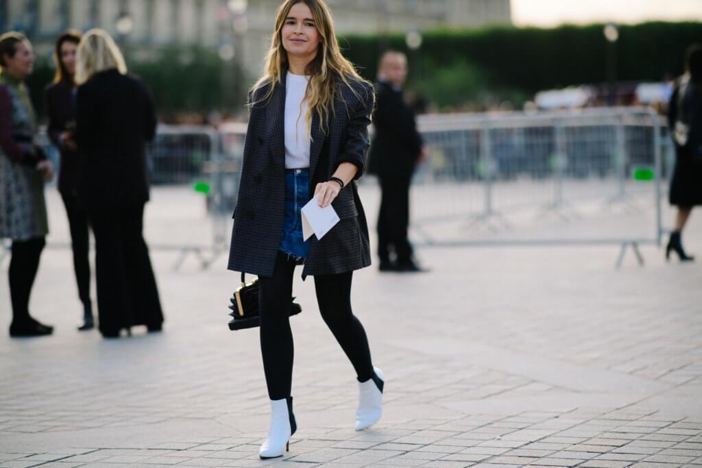 Russian editor wearing denim mini skirt
