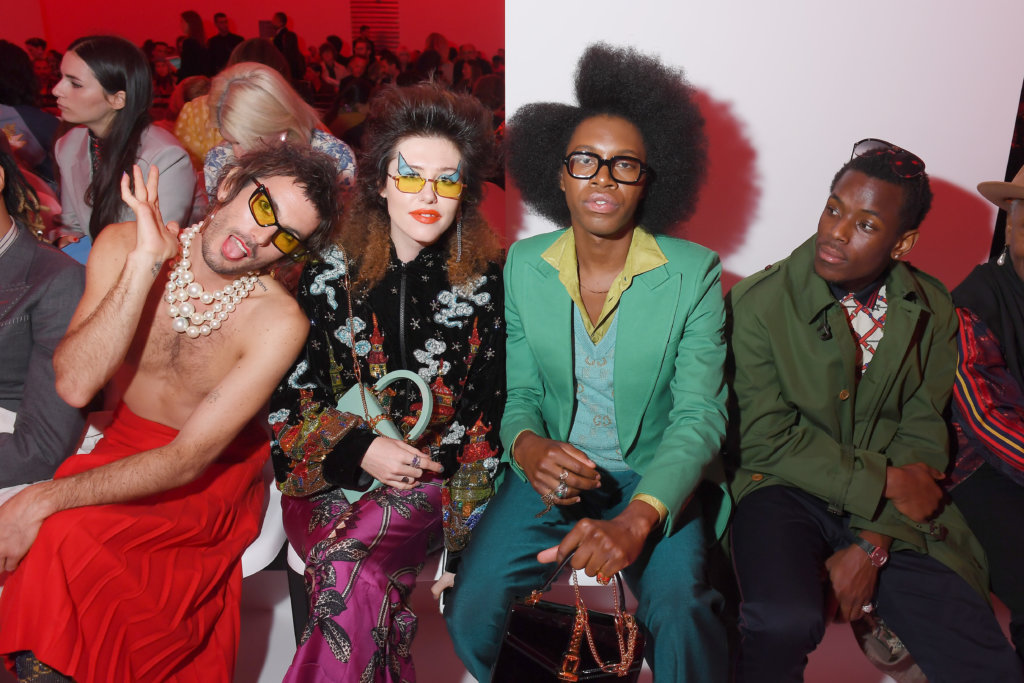 MILAN, ITALY - SEPTEMBER 22: Jeffertitti Moon, Dani Miller, Jeremy O. Harris and Micheal Ward attend the Gucci show during Milan Fashion Week Spring/Summer 2020 on September 22, 2019 in Milan, Italy. (Photo by Victor Boyko/Getty Images for Gucci)