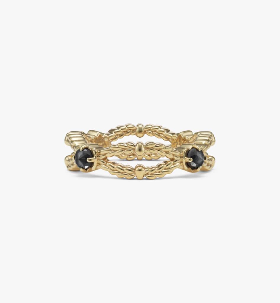 Gold Laurel Black Diamonds 黑鑽戒指 (金色) HKD 14,900
