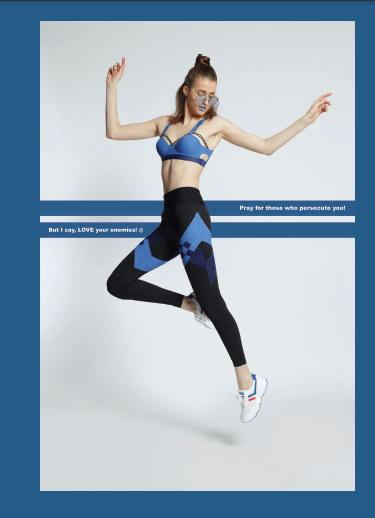 運動leggings的條子作裝飾,不能使用傳統車縫方法,因欠缺回彈力,故改用bonding方式。