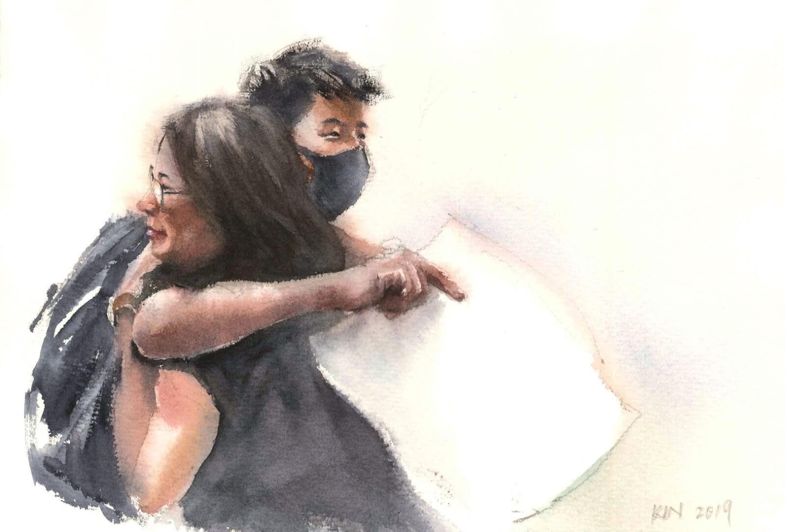 此系列的第一張畫,選自817教育界遊行。一位學生在旁邊舉牌,牌上寫着「對唔住…呢兩個月令你地費心」,一名老師見字後上前擁抱,二人並不相識。