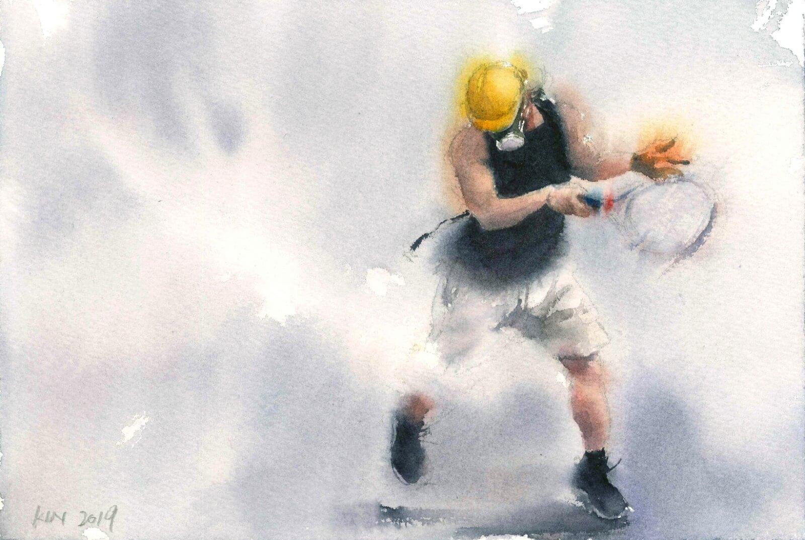 隨着抗爭升級,警方經常發射催淚彈,示威者抵禦催淚彈的場面漸成常態。畫作源自824觀塘遊行,馮健勳受抗爭者的行動觸動,第一次開始以「剛毅」為主題,嘗試用水彩表達催淚煙。