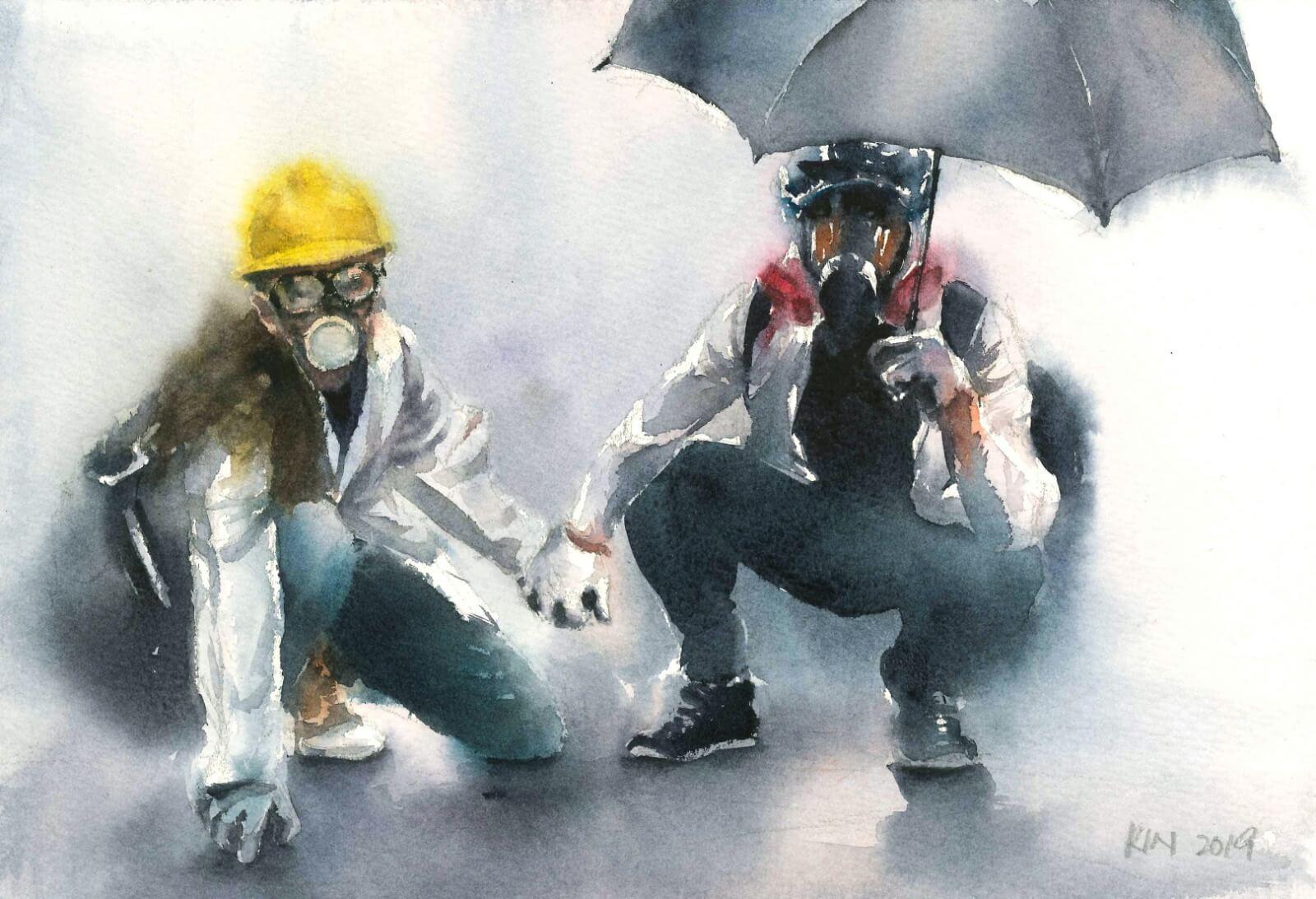 2019年12月,團體在巴黎舉行反送中展覽,馮健勳挑選了一對前線情侶的畫作送展。
