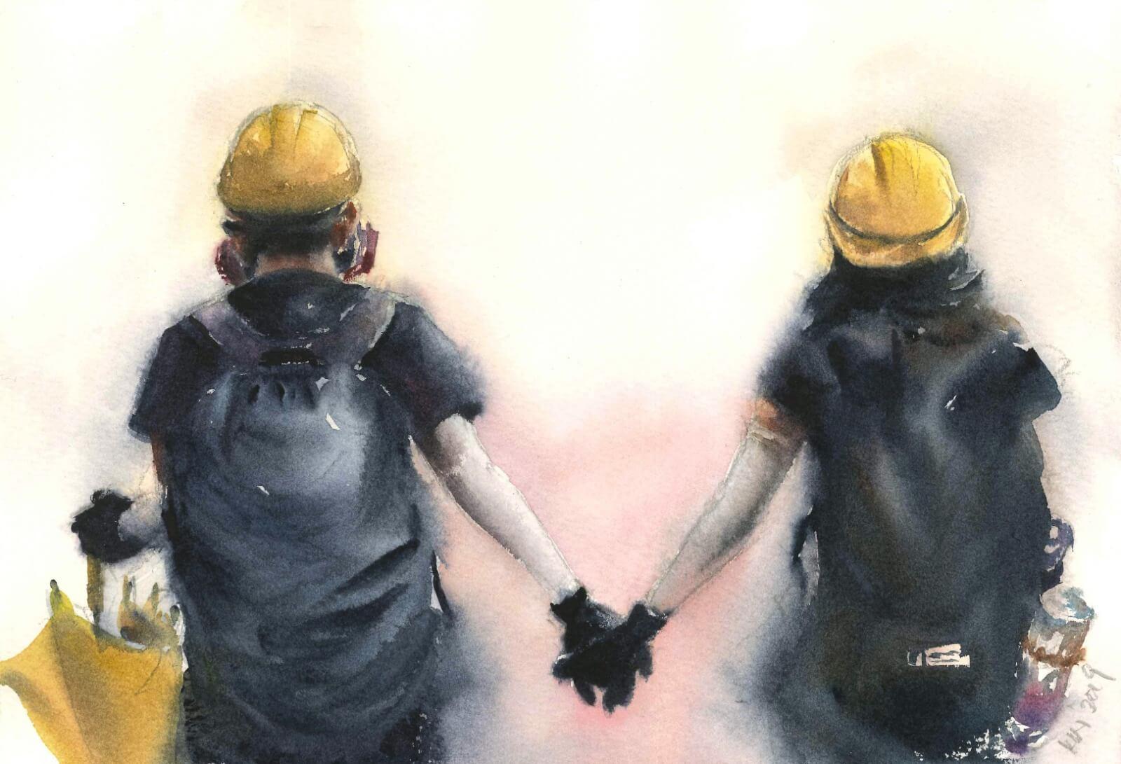一對情侶在街頭落寞地牽手,每一次做成複印品售賣時,這張畫作必定會賣斷。「亂世情侶,加上是背影,大家較容易代入。」