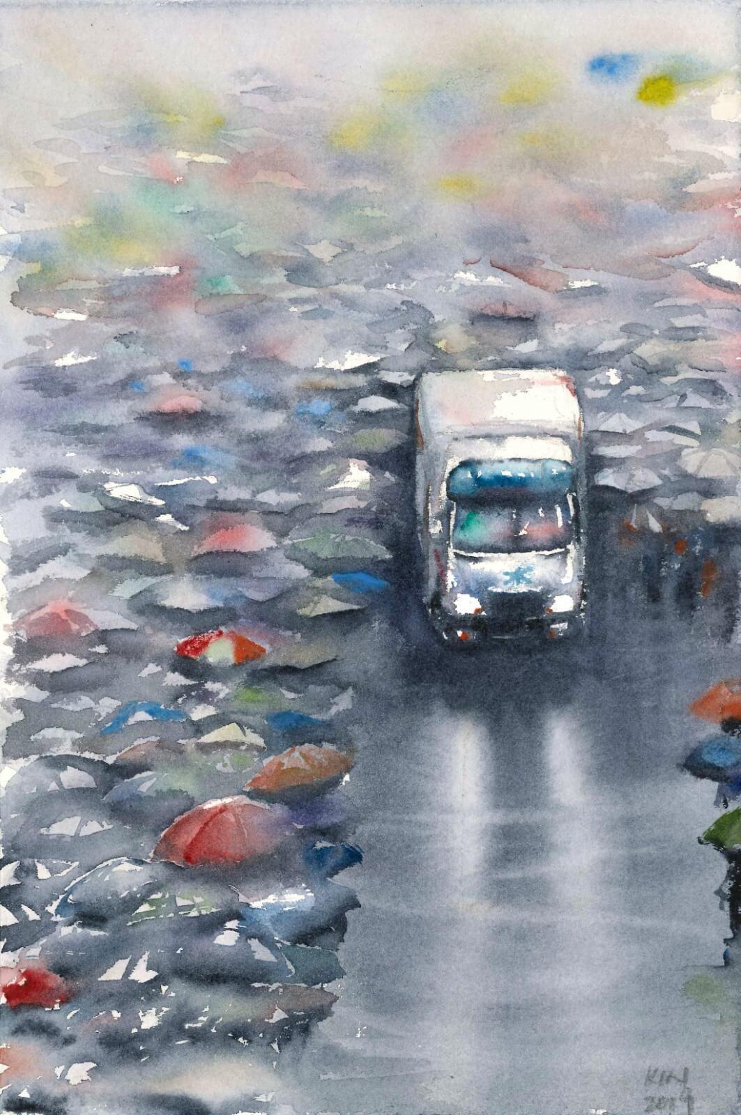 因為時間所限,馮健勳每晚只有一至兩小時繪畫,通常都會選擇構圖較為簡單的個人或二人照。這一幅是少數的大畫面,選自818流水式集會。「讓路給救護車的畫面,早在雨傘運動已經出現。我覺得能夠展示到香港的愛。」