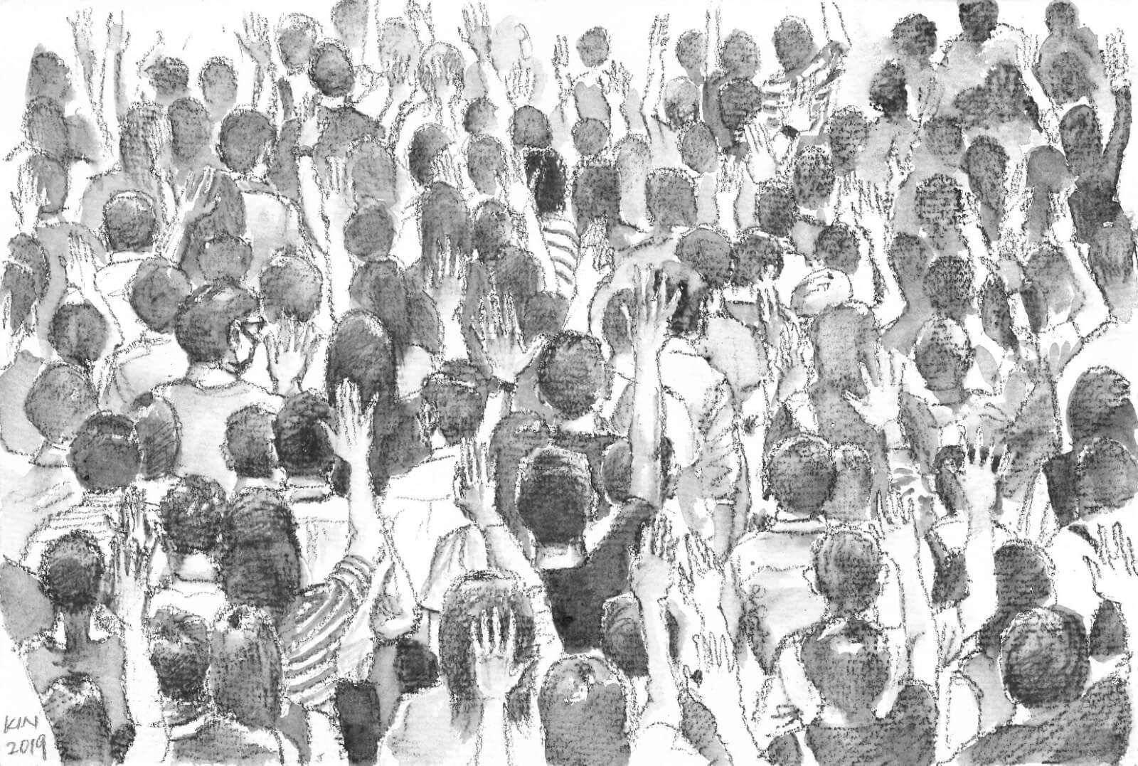 另一張少數描繪大場景的畫作,馮健勳破例選用水溶性鉛筆。他笑言自己畫畫不太喜歡慢慢雕琢,因此愛用水彩,這幅畫也是唯一一張要分開兩次才能完成。「我不太喜歡這一幅,但是也有許多人鍾意,大家覺得似漫畫,幾有feel。」