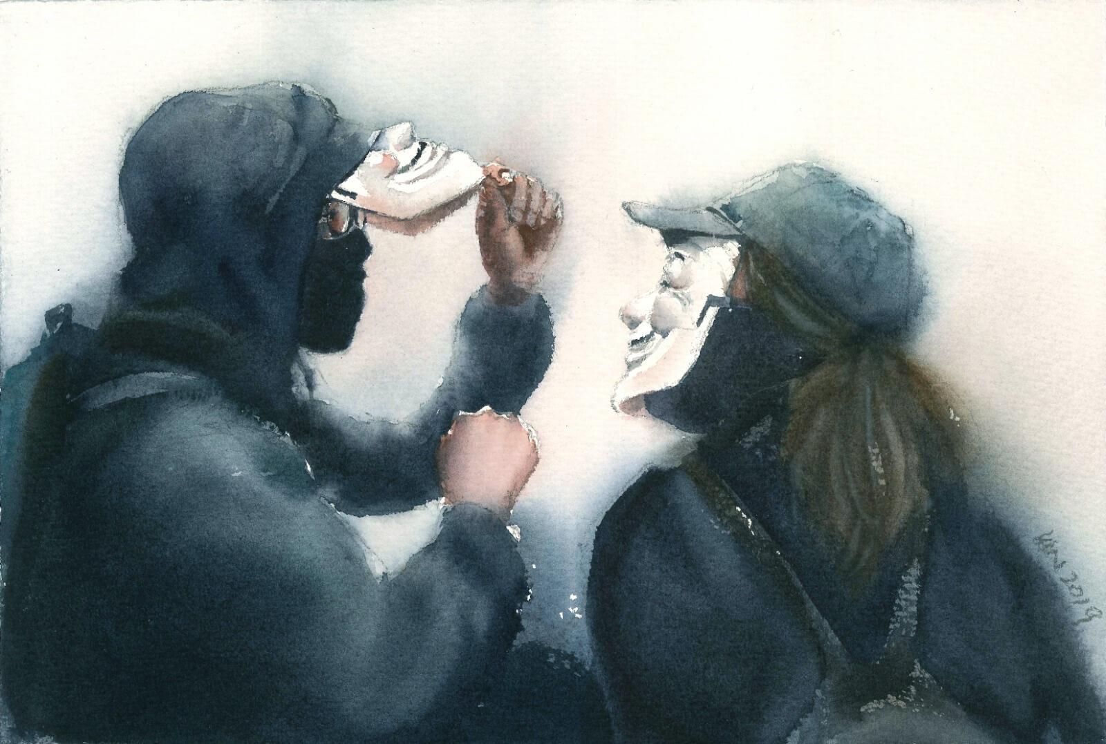 一對情侶除下面具之後,底下還有一層口罩,是蒙面法生效之後的作品。