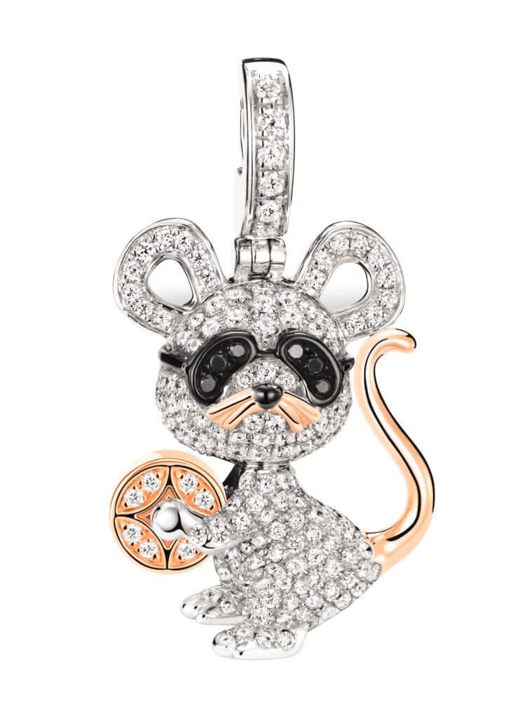 Bo Bo Mouse 18K白金、玫瑰金、鑽石和黑鑽石吊墜 $58,800