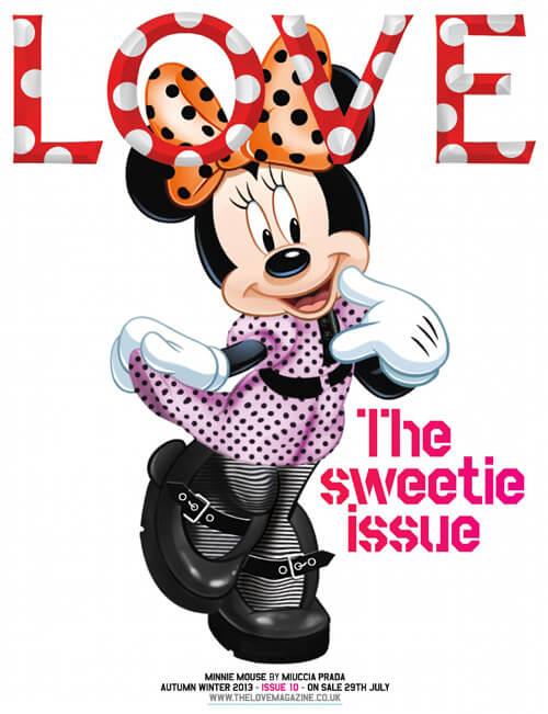 米妮老鼠穿上MIU MIU登上雜誌《LOVE MAGAZINE》