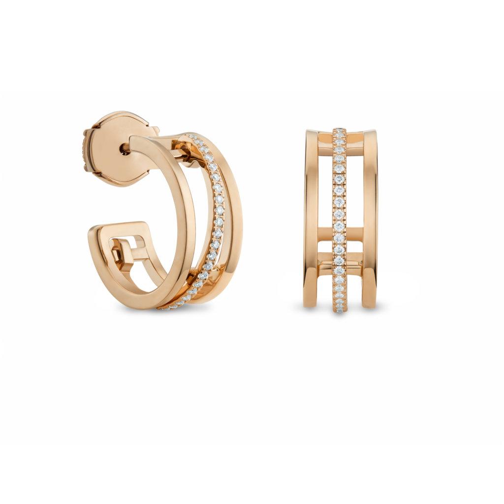 Horizon hoop earrings in rose gold with diamonds. HK$31,000