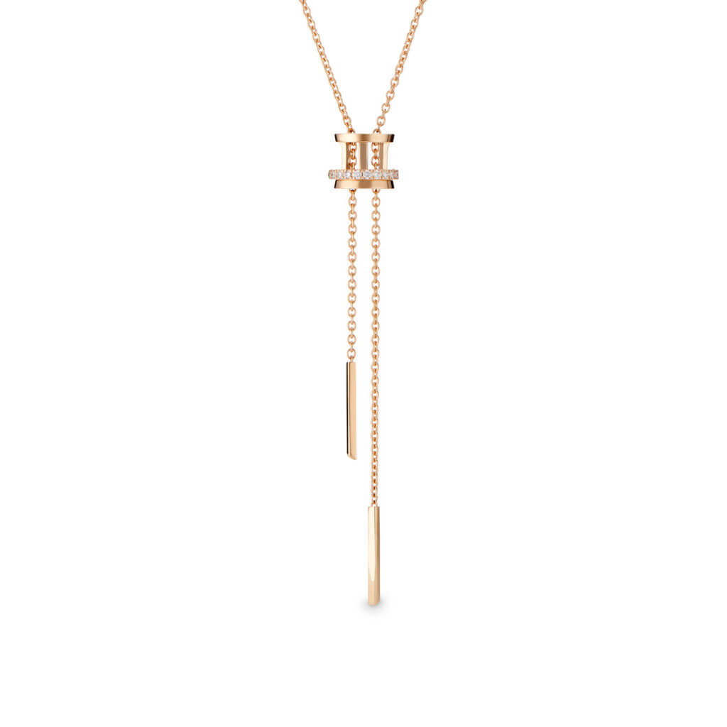 Horizon pendant necklace in rose gold with diamonds. HK$8,500