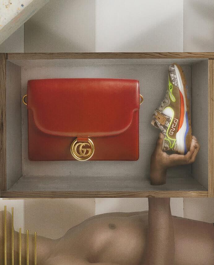 Gucci - GG logo leather cross-body bag