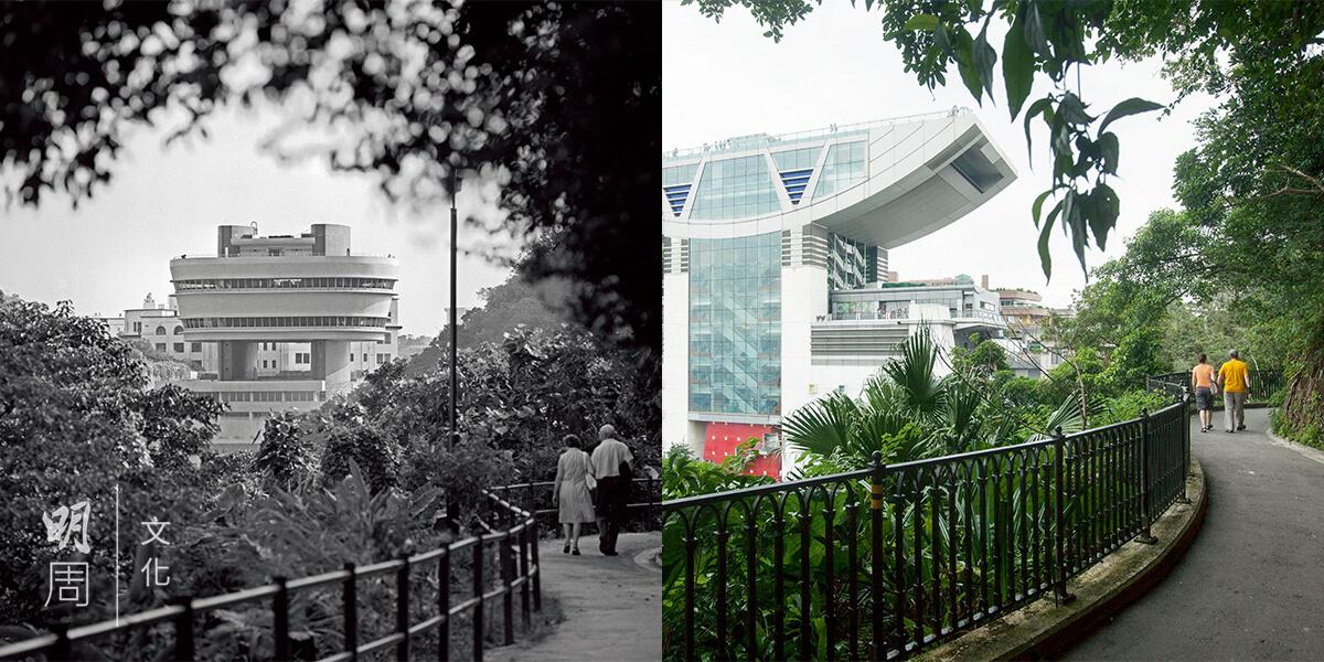 (左)七十年代的盧吉道,能窺見當時舊的山頂觀景台。(圖片由政府新聞處圖片資料室提供 (右)今天站在盧吉道同一位置,舊觀景台早已換成凌霄閣,但路仍然是老樣子。