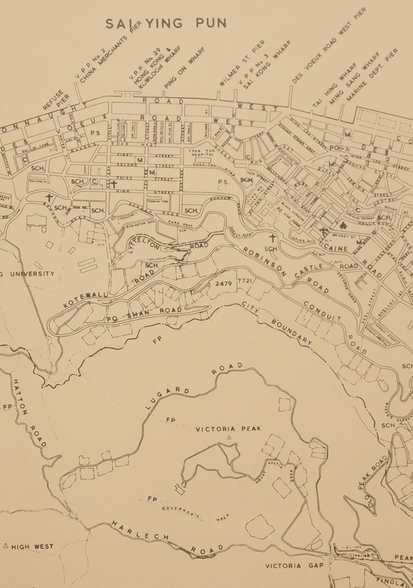 地政總署測繪處出版的《Mapping Hong Kong》,收錄了六十年代的中上環和半山地圖,盧吉道顯示在圖的較下方位置。 (圖片來自《Mapping Hong Kong》)