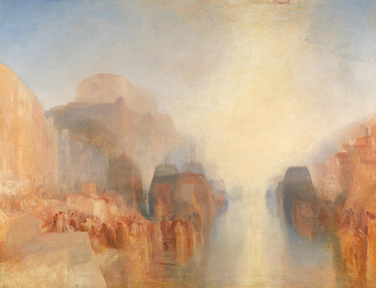 約瑟夫.馬洛.威廉.泰納,《布雷斯特港之碼頭與堡壘》,約1826–1828 © Tate