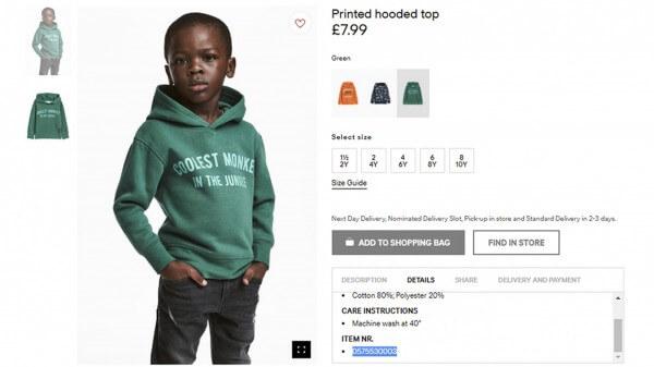 H&M的一名黑人兒童模特兒因為一款綠色衛衣上寫著「森林裏最酷的猴子」字樣,而受到南非消費者不悅。