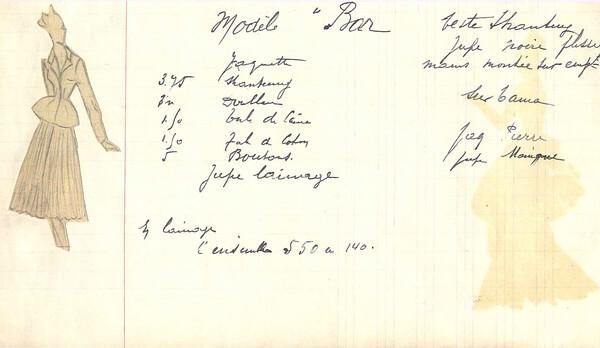 1947年Bar Jacket的手稿