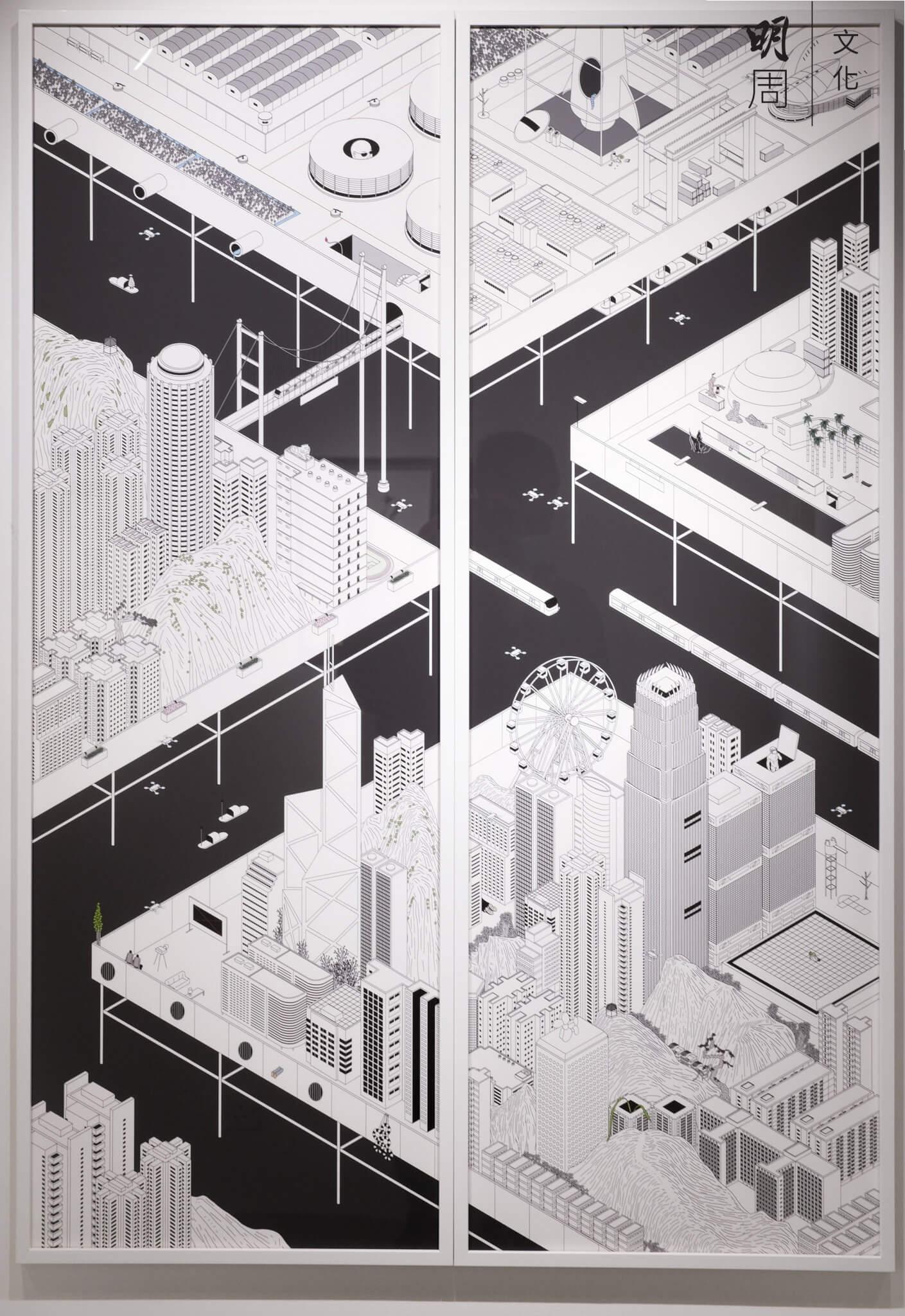 黃照達以電腦繪圖畫成他一個不存在的城市,卻表露了香港的現狀。