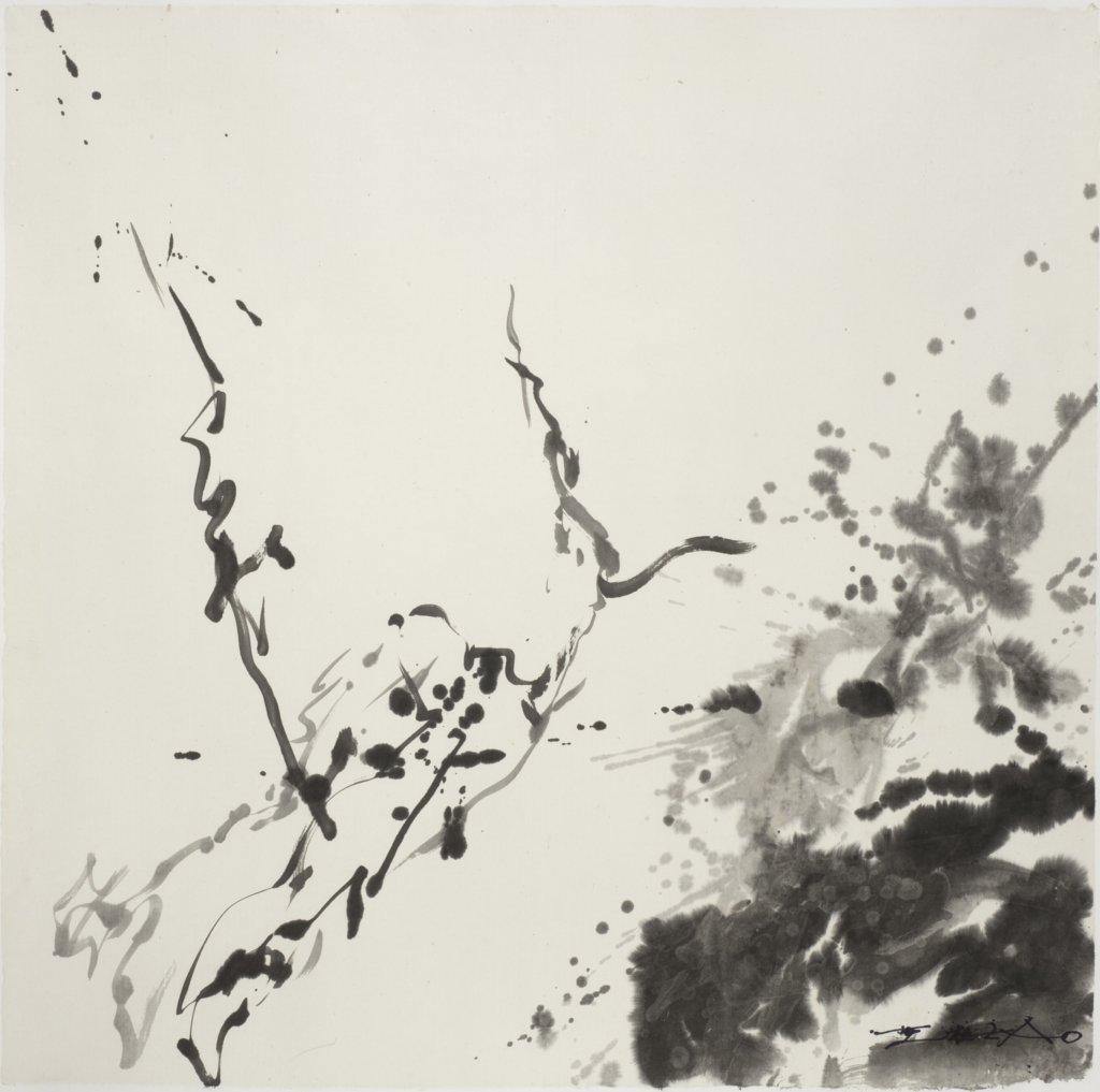 從油畫到水墨,趙無極畫風多變。圖為他的2007年作品,題為《ST encre (2007-16)》。