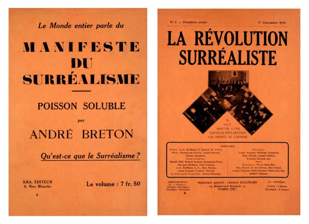 (右)布勒東的著作《什麼是超現實主義?》(左)一九二四年十二月一日,《超現實革命》創刊號出版。