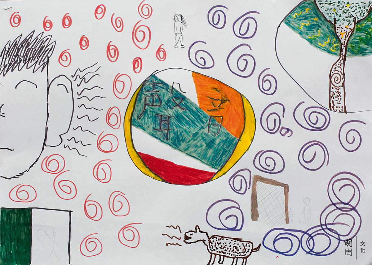 聲音掏腰包舉辦「聲動校園」工作坊,圖為一位中學生畫的聲音地圖。