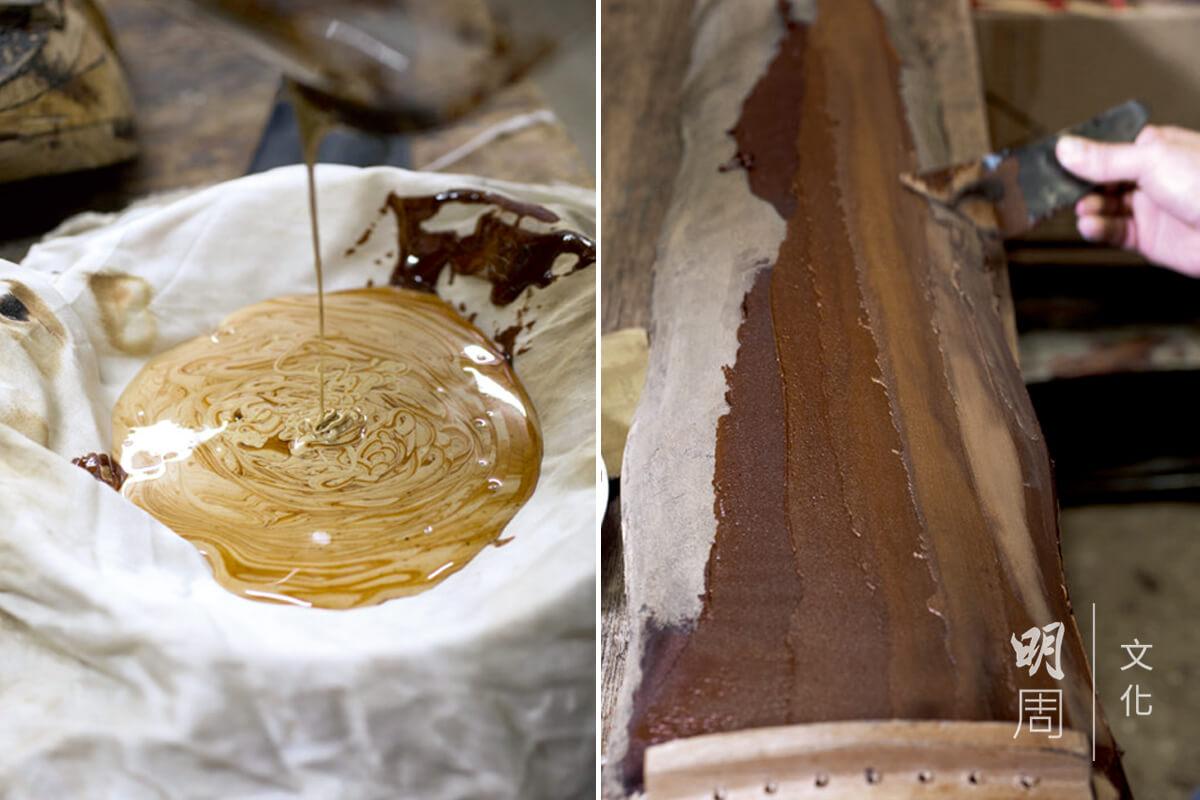 (左)生漆有毒,有時不慎沾到 漆液會皮膚敏感。 (右)上灰。完成木胎製作,即 可用牛角批髹上灰漆。灰漆是由生漆和鹿角灰調成。