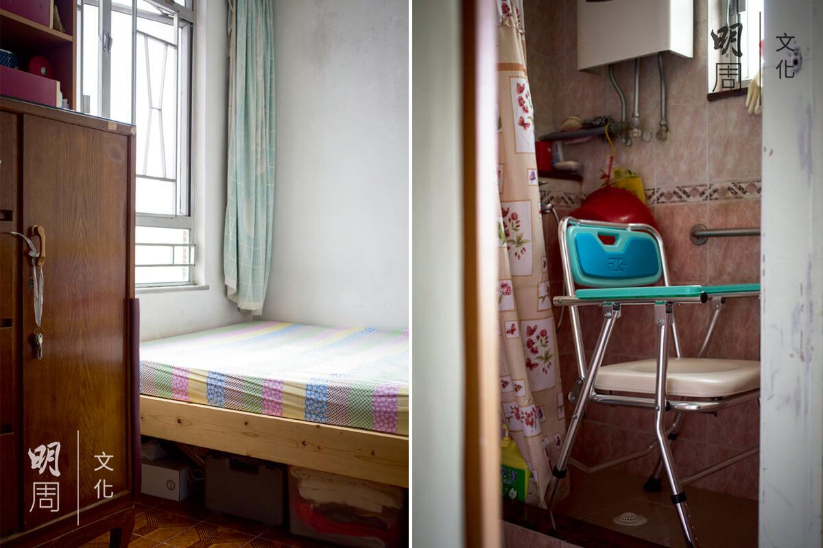 (左) 家裏換上矮牀,方便長者上下牀。 (右) 有了浴椅,長者洗澡更安全,也更加舒適。