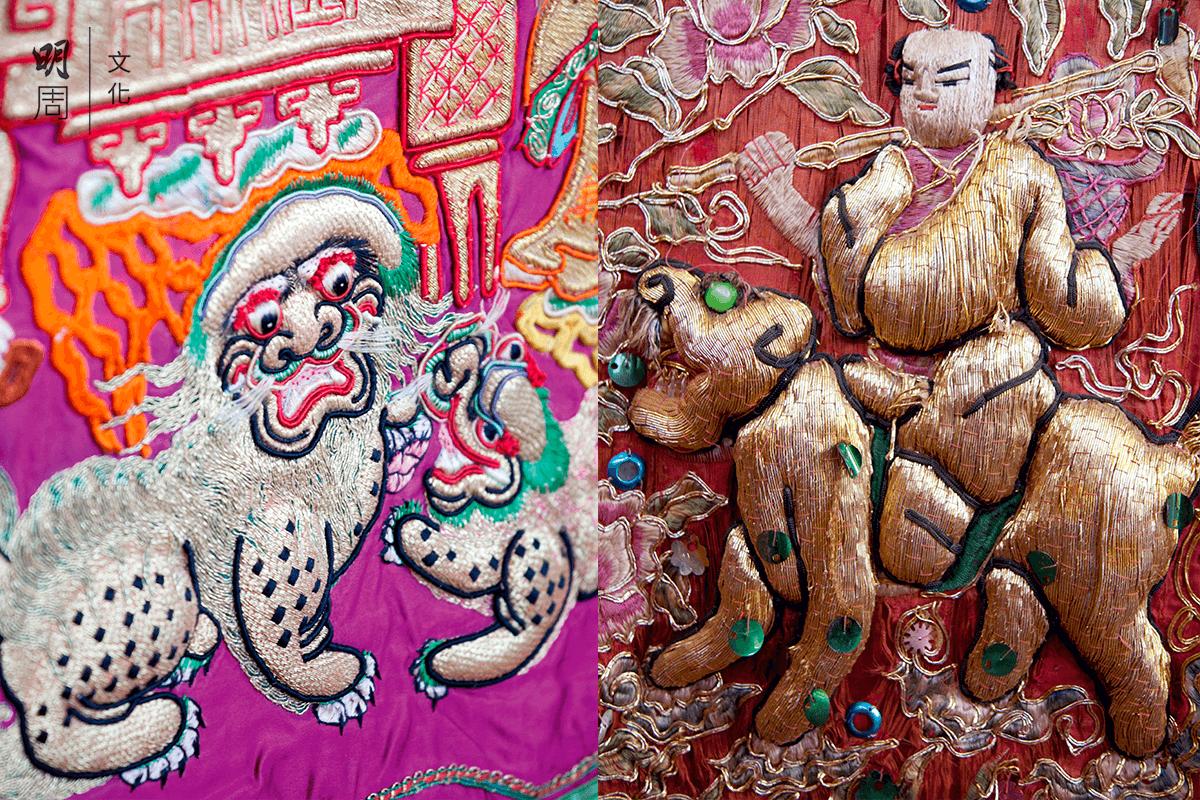 潮綉的題材和圖案花樣,融合了潮州木雕、潮彩、潮州木偶等民間工藝,豐滿浮突有起伏,主線為金線或銀線、絨線混合針綉,產生金碧輝煌、鮮艷奪目的效果。