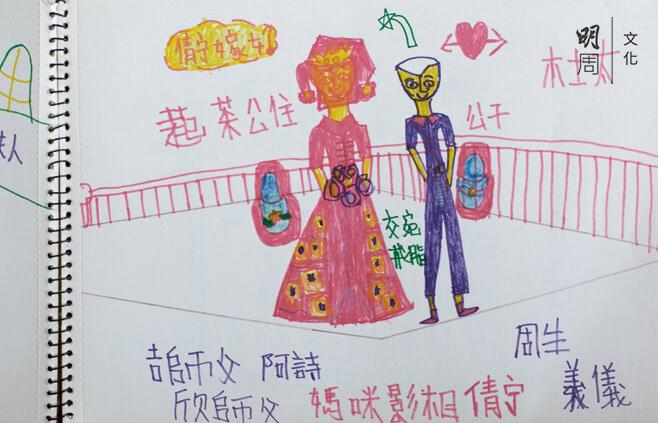 在親戚婚禮看過中西式不同的儀式後,Kitty用 繪畫表達自己對婚姻的憧憬。