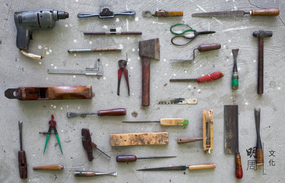 斲琴所需之部分工具,不少都是蔡昌壽自製。