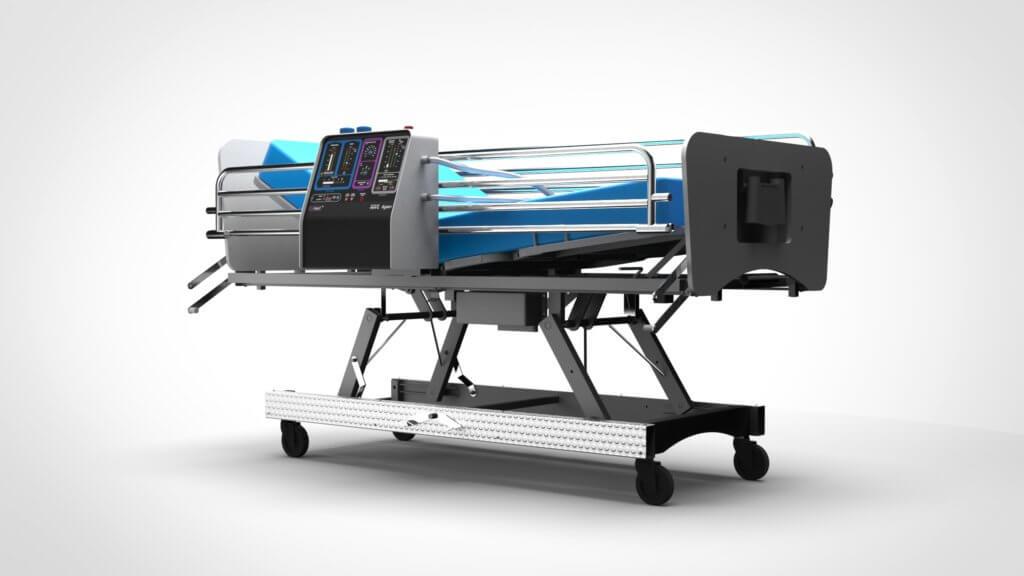 呼吸機可安裝在病床上,方便移動。