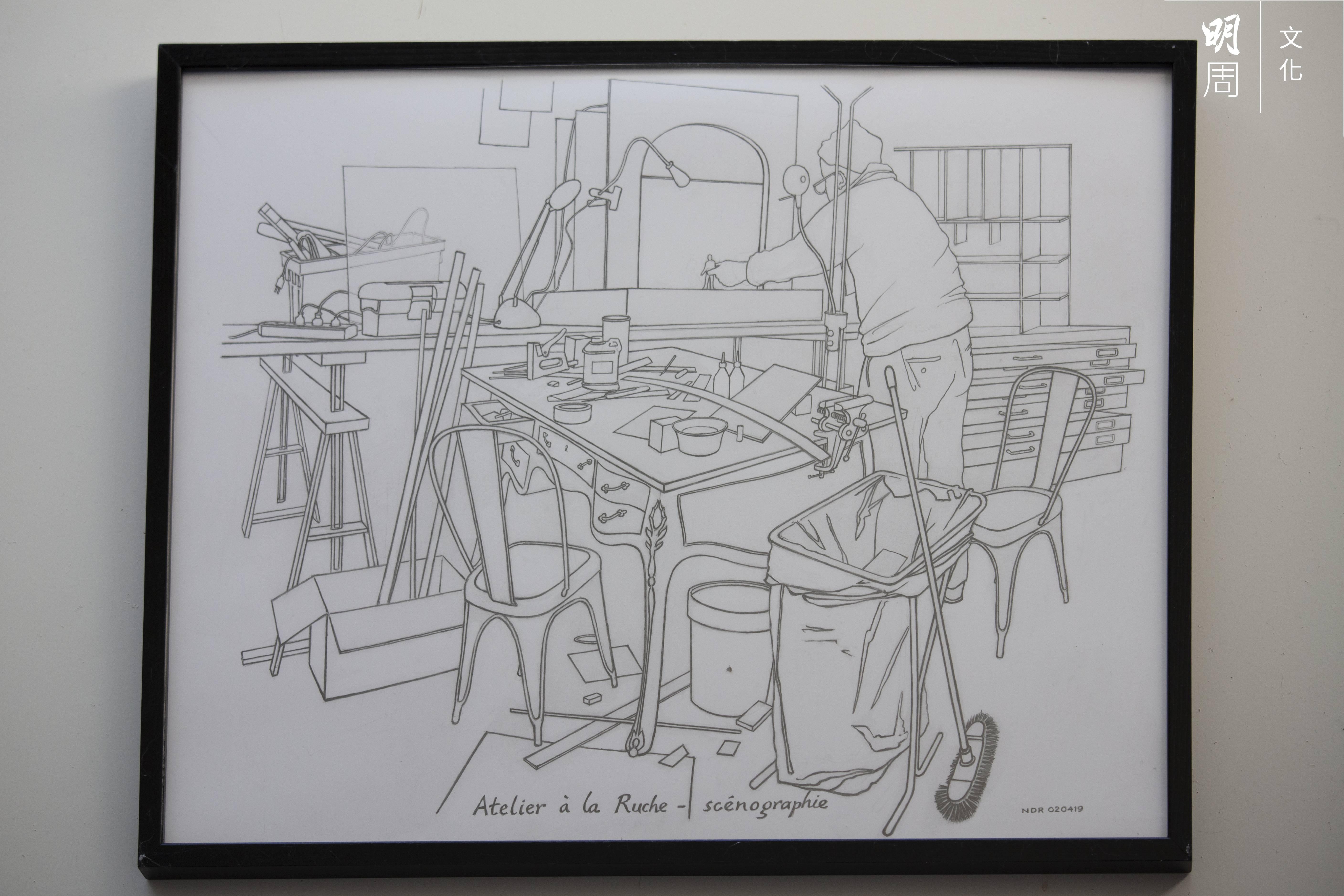 在Nicky工作室中掛起的一幅小畫