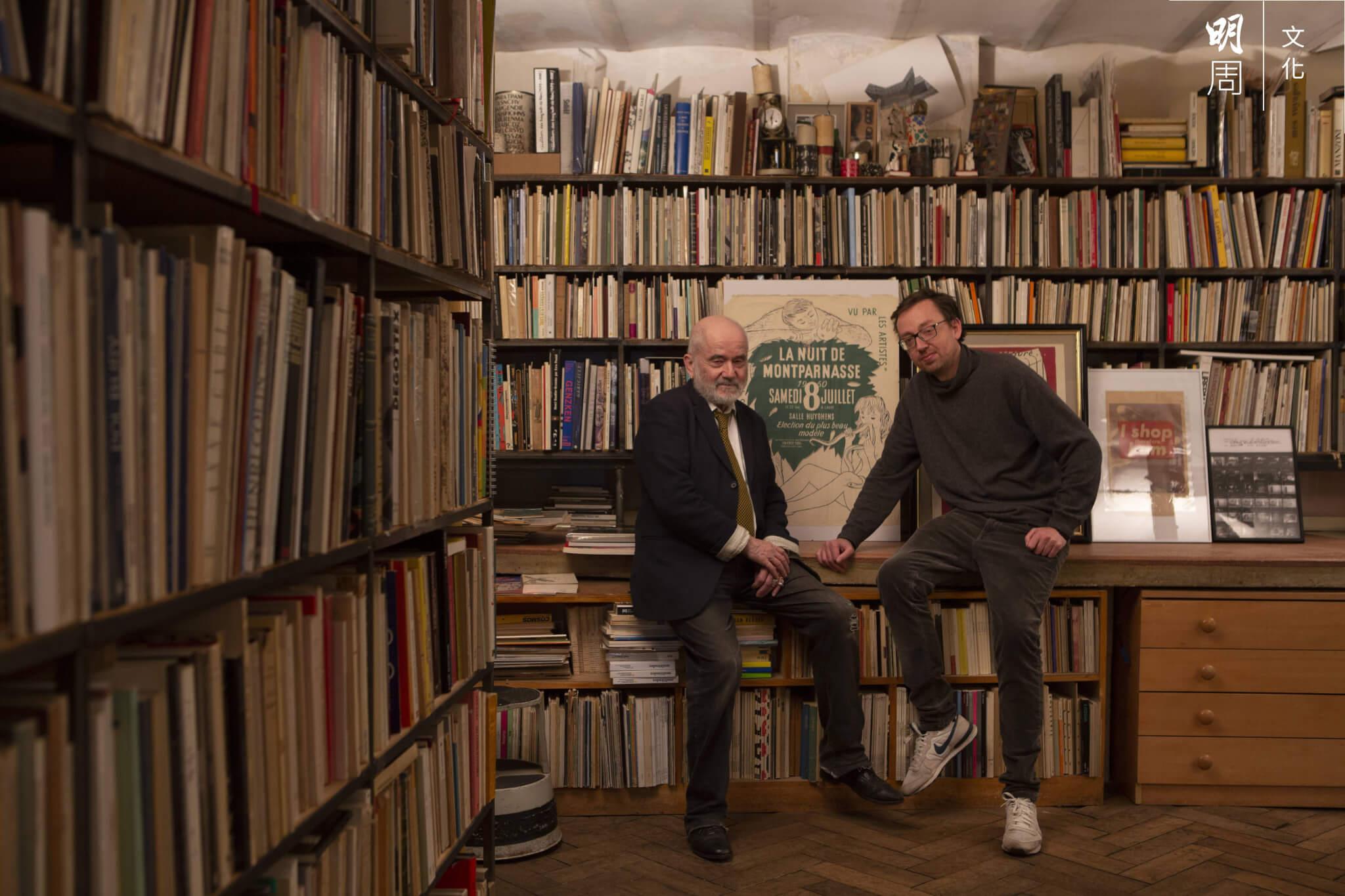 Florian de Vaulchier(左)和Felix de Vaulchier(右)兩父子共同經營書店,見證蒙帕納斯變遷。