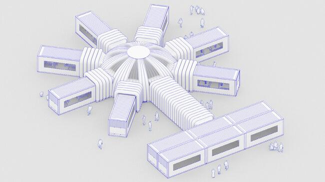 利用貨櫃可靈活增減以及拼湊成不同形態。