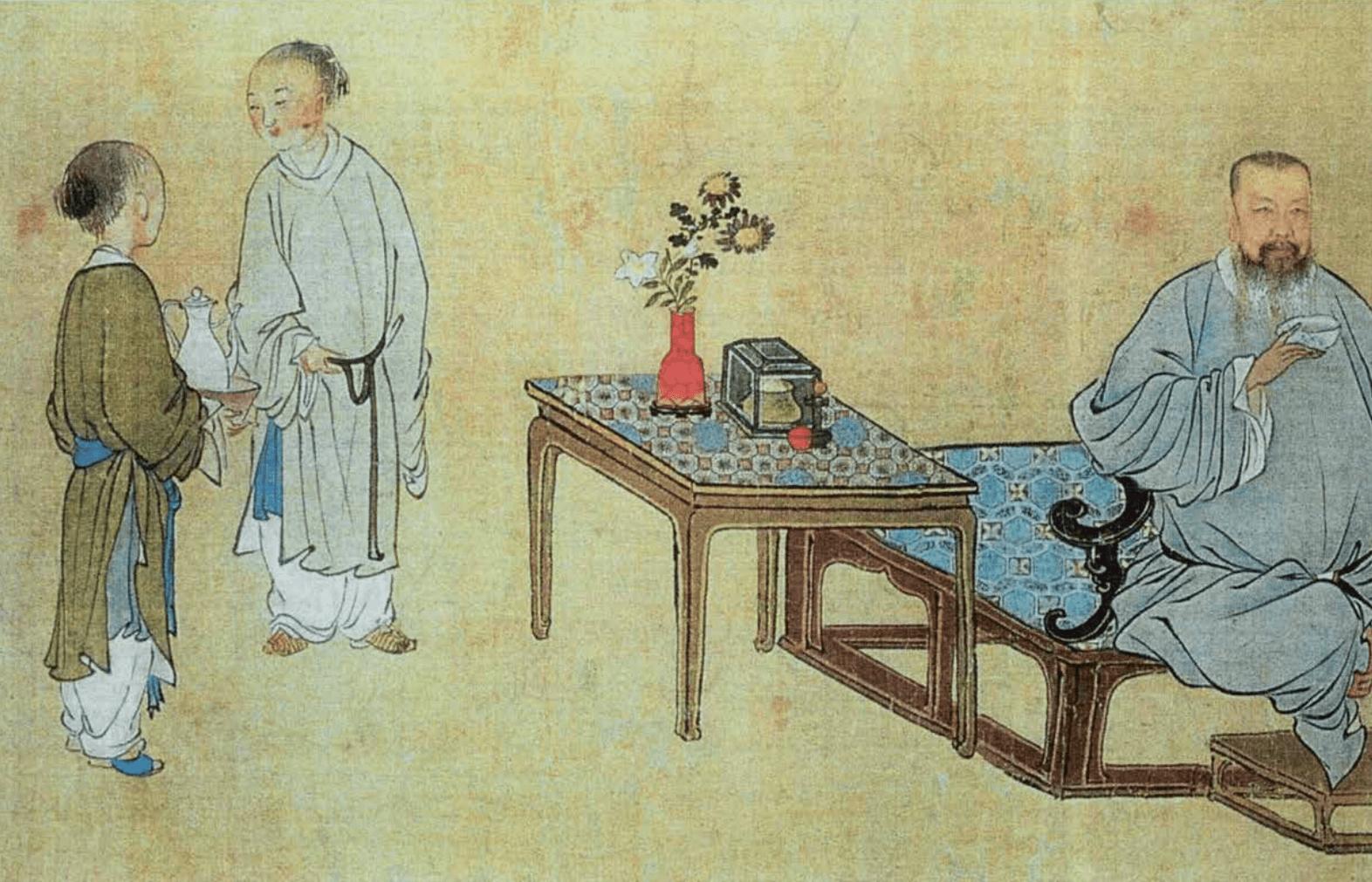 清代禹之鼎(1647–1716)作《王原祁藝菊圖》北京故宮博物院藏(局部)