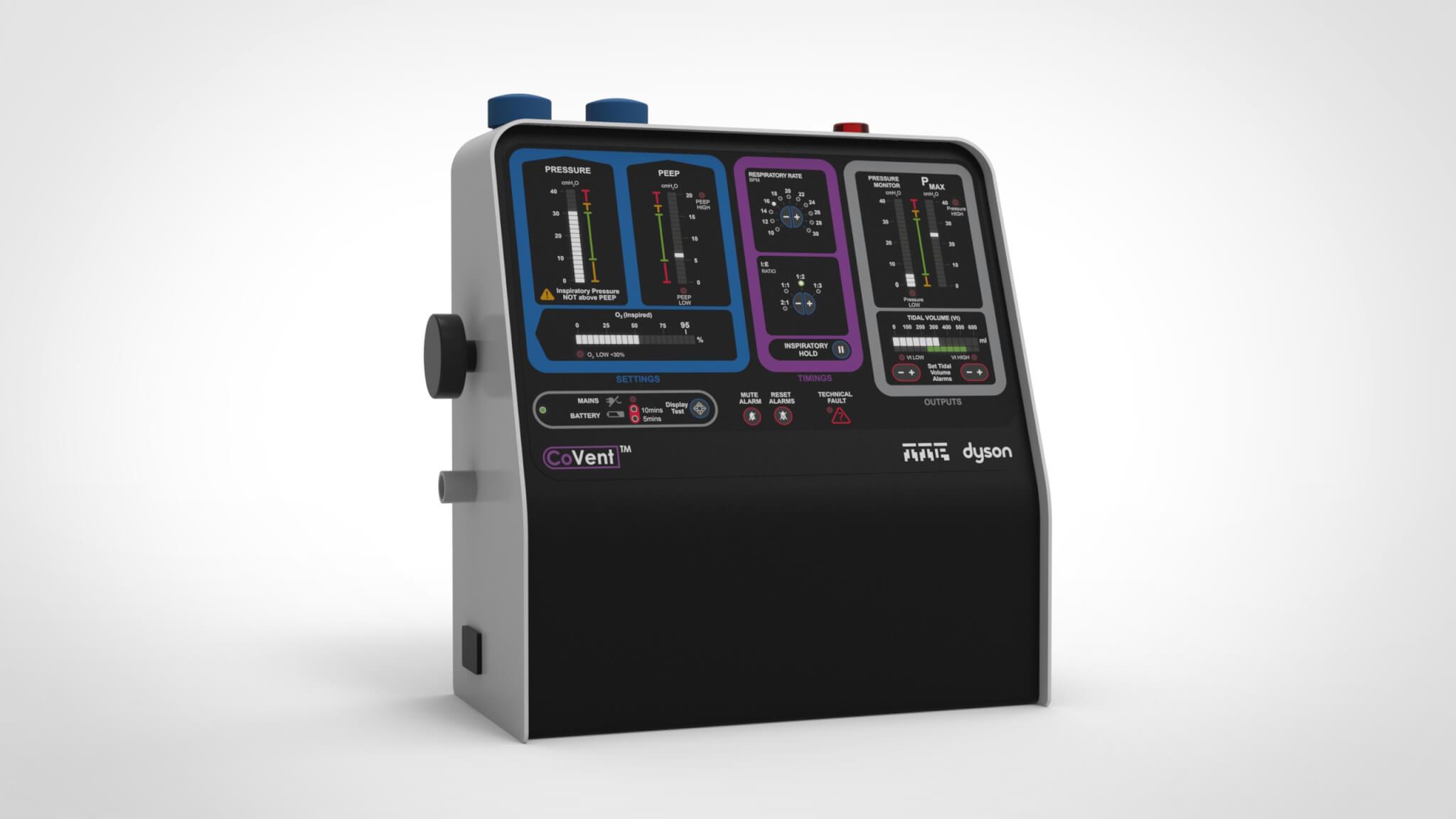 呼吸機改良了Dyson原有的數碼摩打,配合空氣過濾和淨化技術,為病人提供高質空氣。