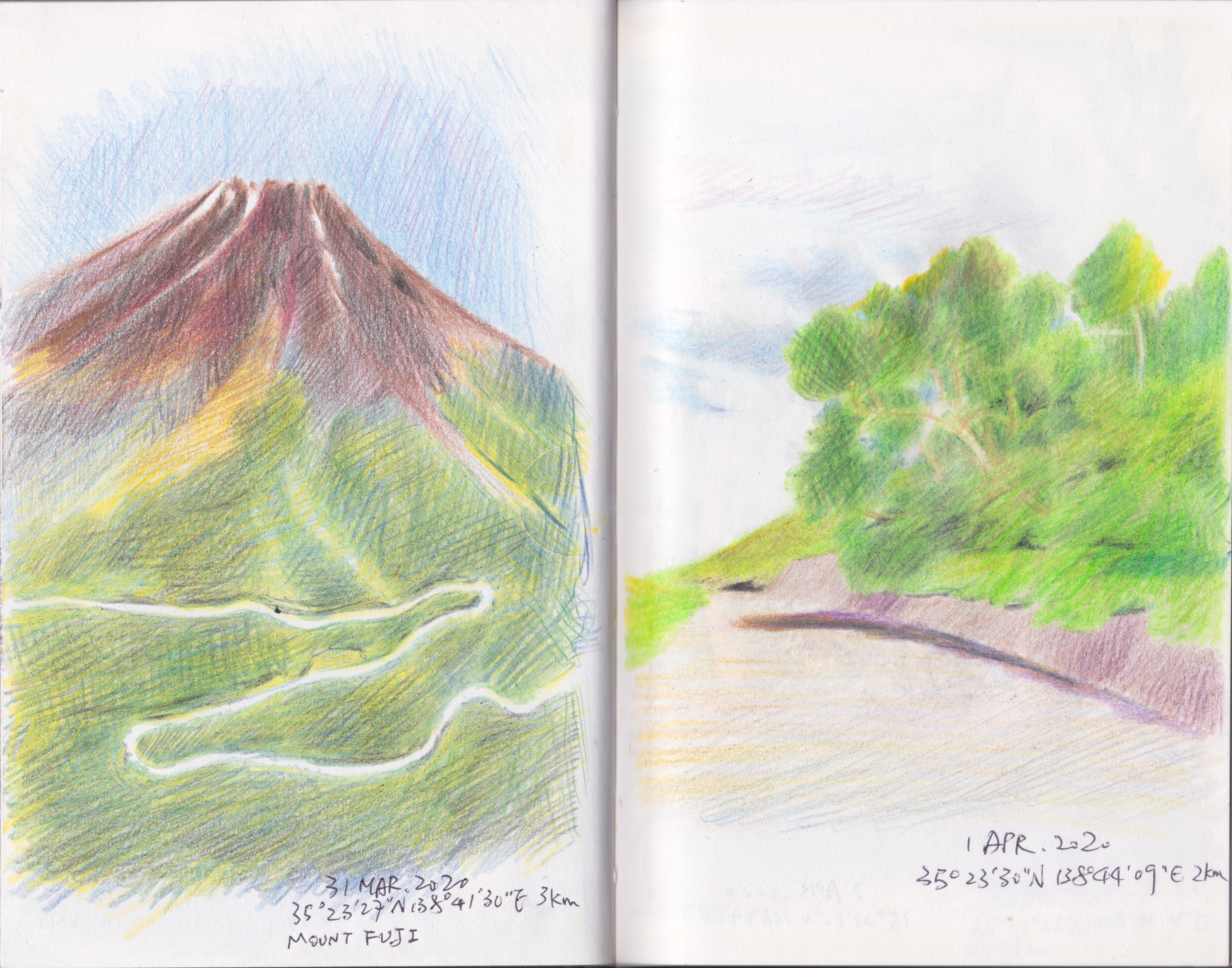 他依照Google Earth所畫的富士山。除了大山外,他也經常紀錄沿途的路徑。