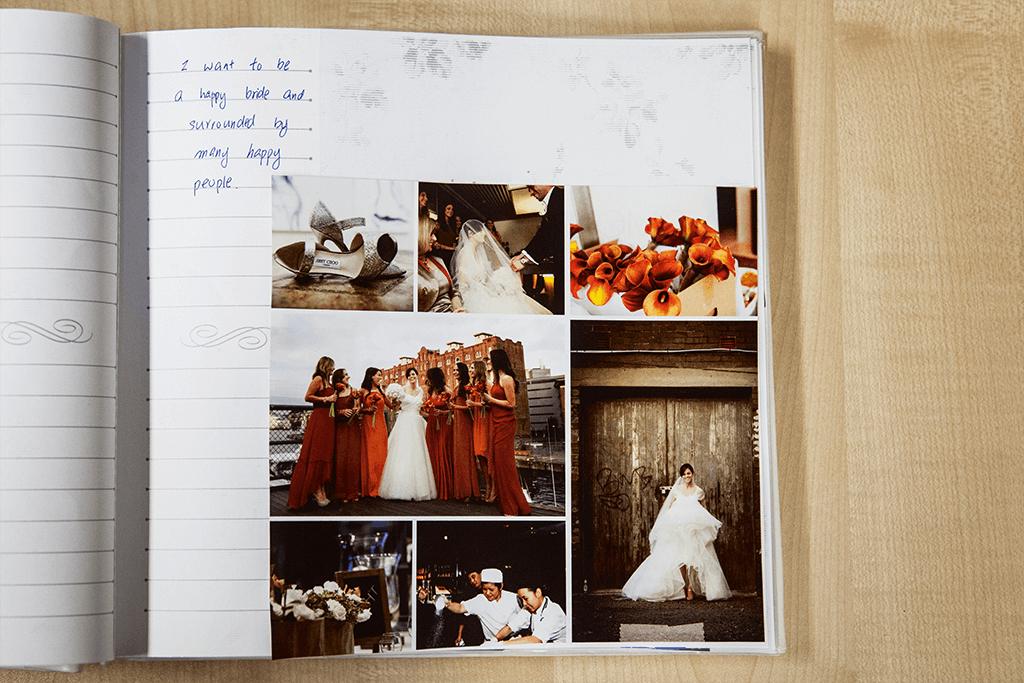 Rachael鼓勵客戶做剪貼本,想像自己的婚禮在哪裏舉行,與什麼樣的人 一起,過怎樣的生活。