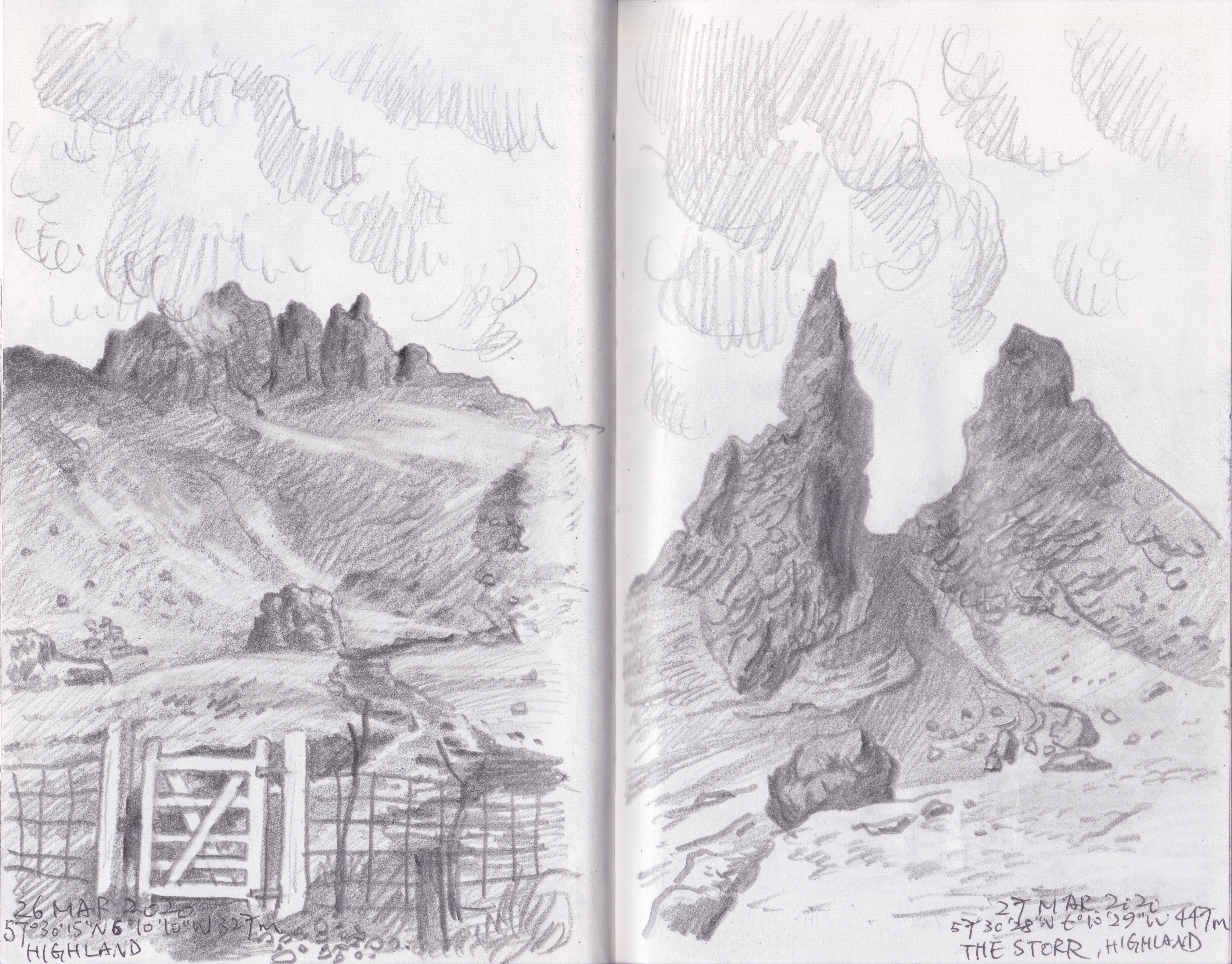 蘇格蘭高地The Storr,圖中一條道路通過兩塊巨石之間,是黃希望日後可親身到訪之地。