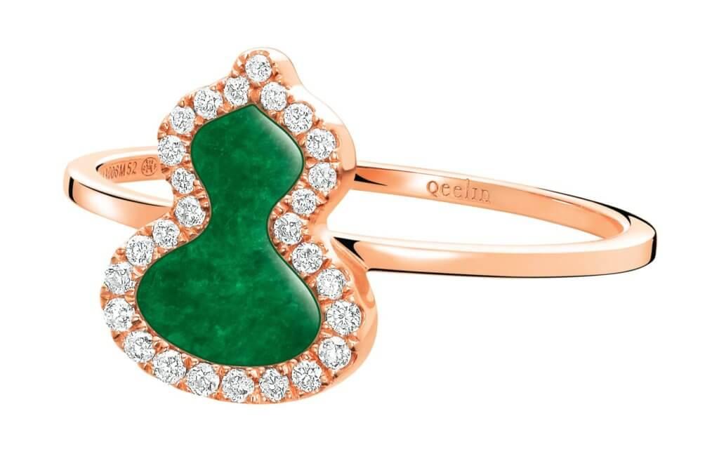 Petite Wulu 18K 玫瑰金鑽石及翡翠戒指 $12,800