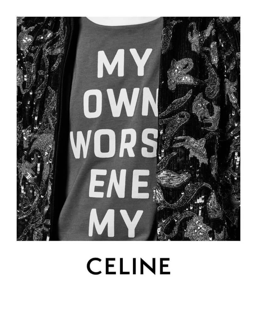 Celine二○二○年男裝春夏系列向七十年代致敬,Slogan元素成為重頭戲。