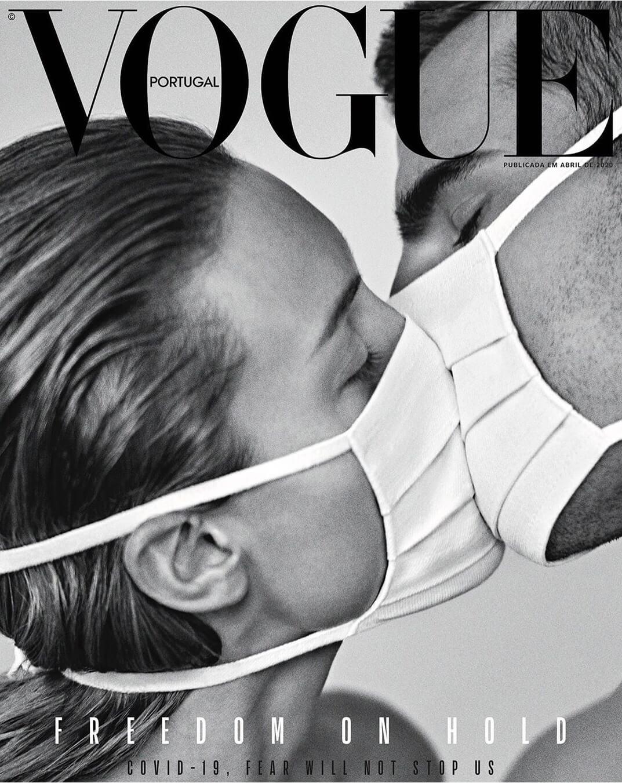 葡萄牙版《Vogue》封面,向20世紀初流感大流行時一張著名歷史照致敬。