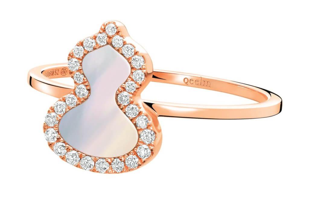 Petite Wulu 18K 玫瑰金鑽石及珍珠母貝戒指 $10,800