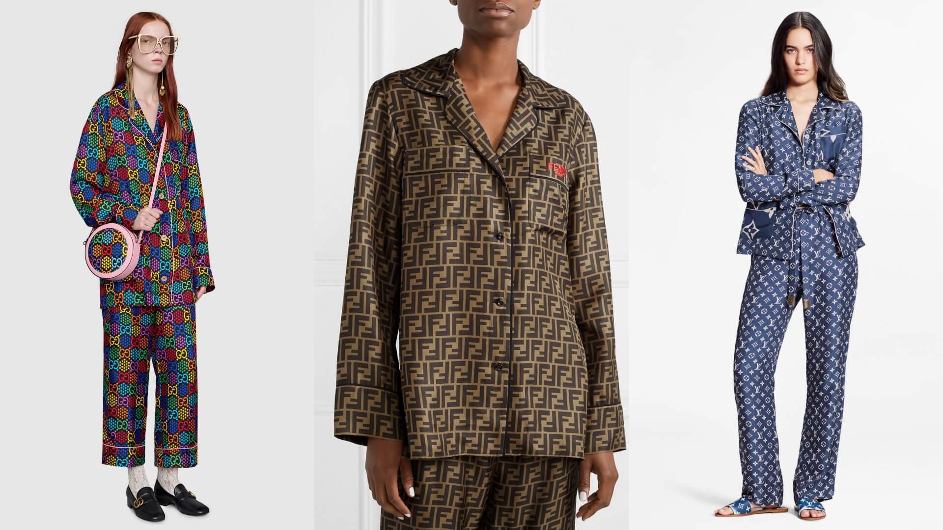 左起:Gucci(top $15,500;pants $10,900)、Fendi(top $12,500;pants $9,800)、Louis Vuitton(top $15,300;pants $13,500)