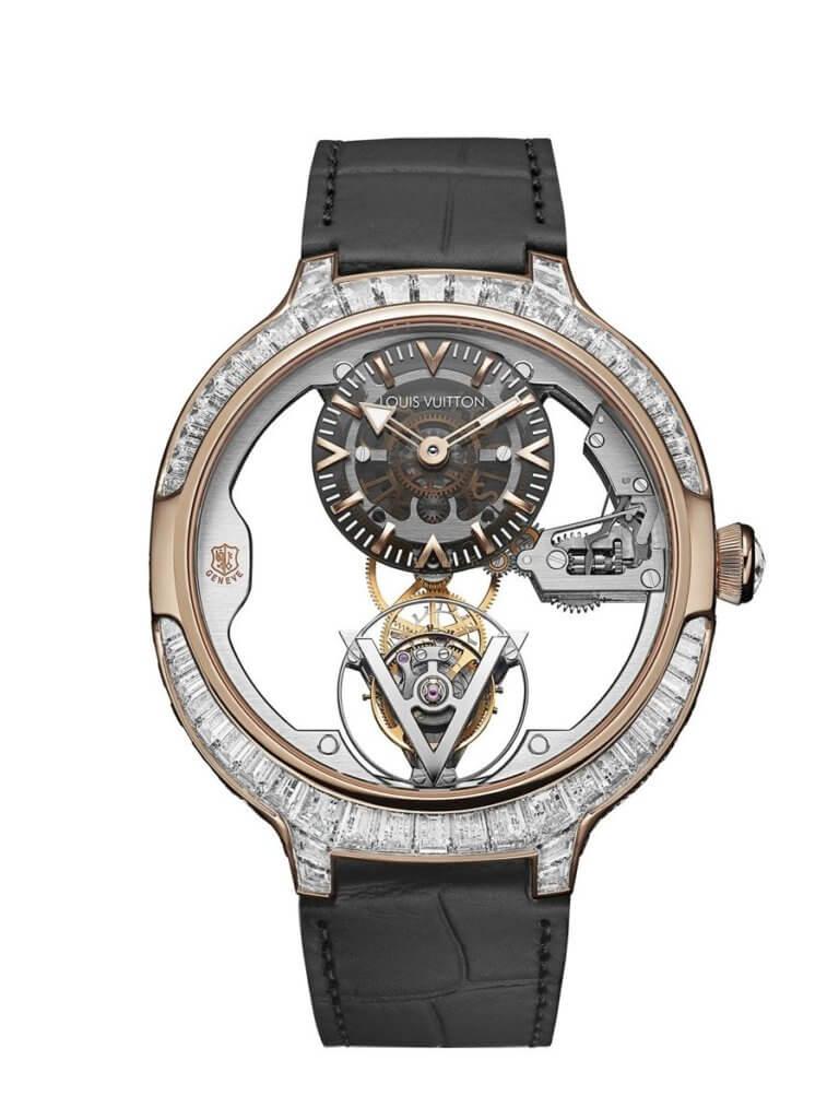 LOUIS VUITTON Voyager PDG PG sertie diamants日內瓦印記飛行陀飛輪鑽表