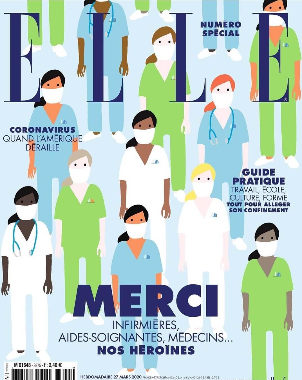 法國版《ELLE》選擇以插畫作封面,向穩守前線的女性醫護人員致敬。