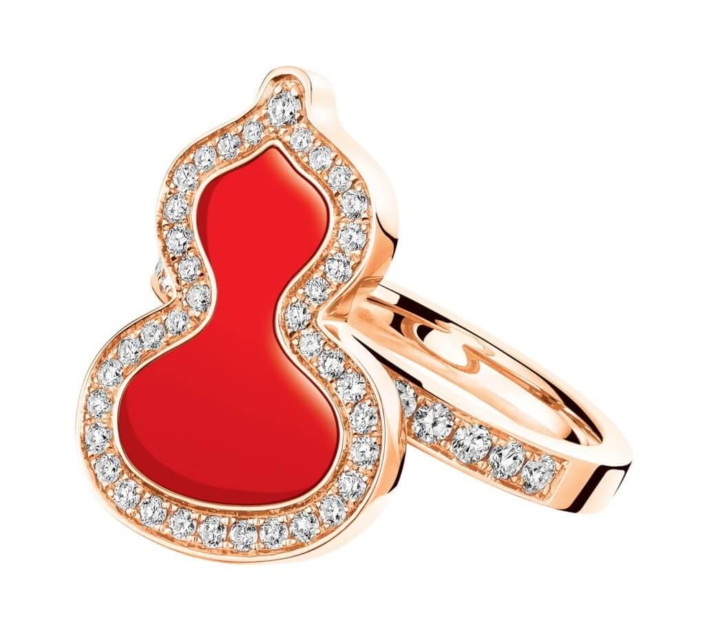 Petite Wulu Solid 18K 玫瑰金鑽石及紅瑪瑙戒指 $18,800