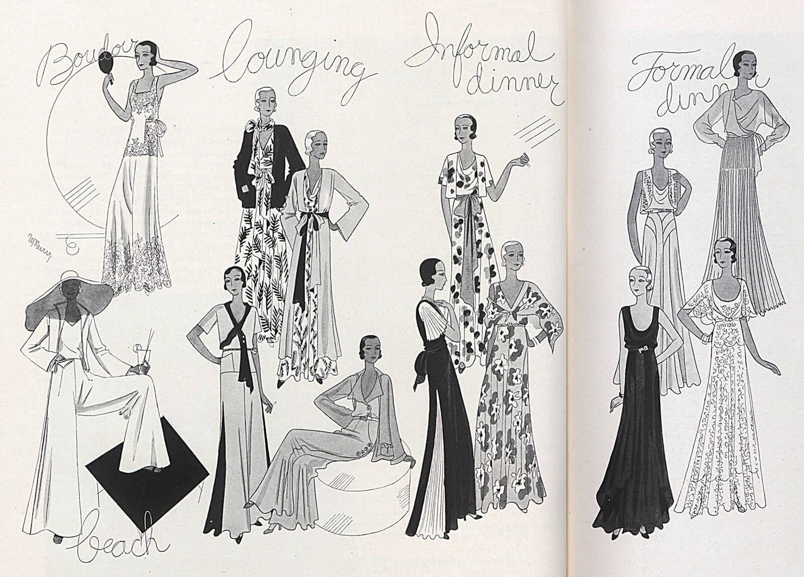 1930年代的女性睡衣設計。
