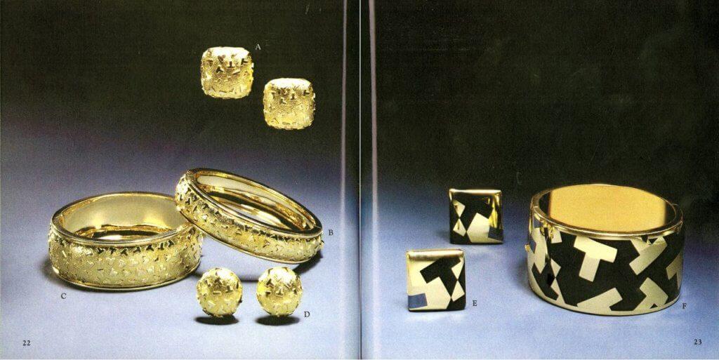 Tiffany T1 系列的部份設計靈感源自1988年Blue Book 系列的「T」字圖案珠寶設計