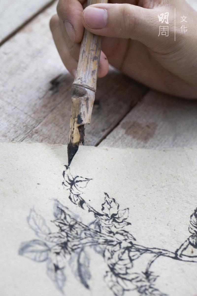 在自製的紙上用自製的墨水 筆畫土丘田的農作物。